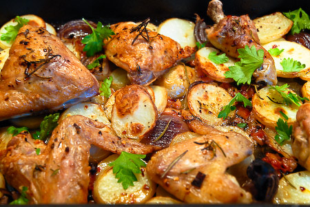 Roasted Chicken with Pancetta and Potatoes | Lemonlicious!